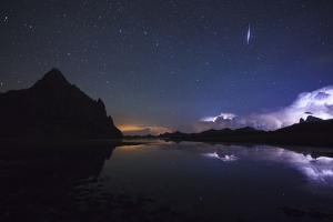 Anayet Peak at Night and Storm over Pic Du Midi D'Ossau, Pyrenees. Huesca Province, Aragon, Spain by Oscar Dominguez