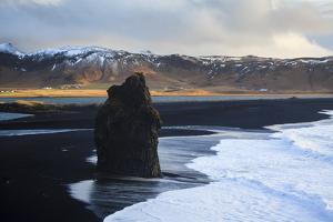Coastal Landscape With Volcanic Black Sand At Dyrholaey. Vik. Iceland by Oscar Dominguez