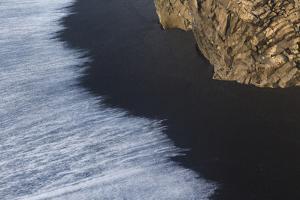 Wave Patterns On Beach Of Black Volcanic Sand. Dyrholaey. Iceland by Oscar Dominguez