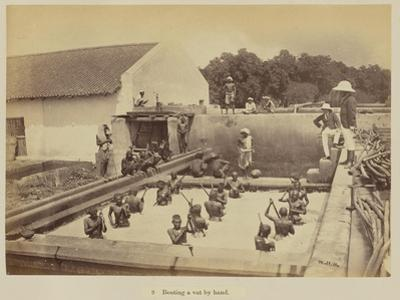 Beating a vat by hand, 1877 by Oscar Jean Baptiste Mallitte