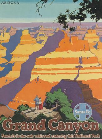 Santa Fe Railroad, Grand Canyon National Park, Arizona, 1940s by Oscar M. Bryn