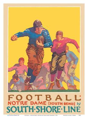 Football - University of Notre Dame, Indiana - South Shore Line, South Bend Station by Oscar Rabe Hanson