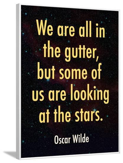 Oscar Wilde Looking at the Stars Quote Print Poster--Framed Poster