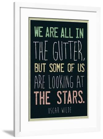 Oscar Wilde Looking At the Stars Quote--Framed Art Print