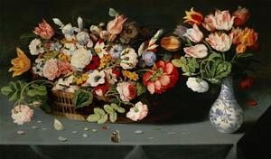 Still-life with flowers and butterflies by Osias Beert