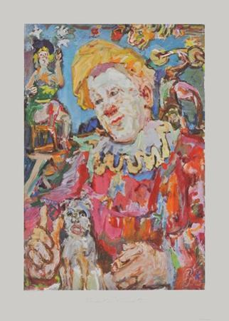Clown witha Dog by Oskar Kokoschka