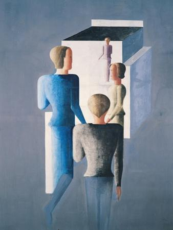 Four Figures and a Cube, 1928 by Oskar Schlemmer