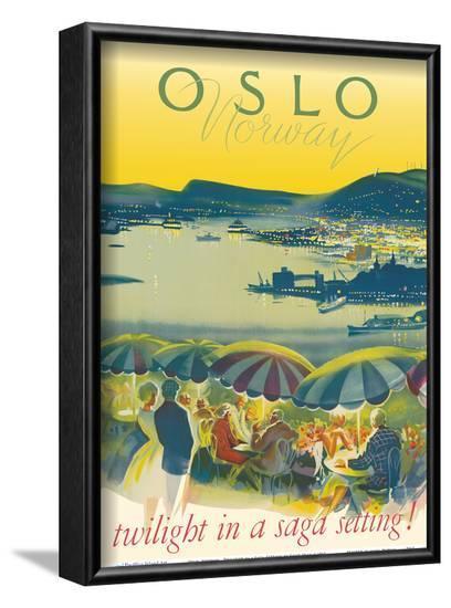 Oslo, Norway - Twilight in a Saga Setting-Knut Yran-Framed Art Print
