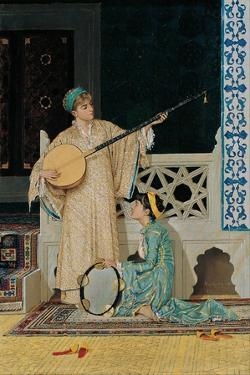 Two Musician Girls, Second Half of the 19th C by Osman Hamdi Bey