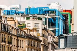 Aerial View of Beaubourg Area with the Pompidou Center Museum   Cityscape of Paris in France by OSTILL