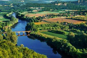 Medieval Bridge over the Dordogne River Perigord France by OSTILL
