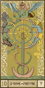 Tarot: 10 La Roue de Fortune, The Wheel of Fortune by Oswald Wirth