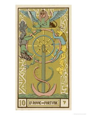 Tarot: 10 La Roue de Fortune, The Wheel of Fortune by Oswald Wirth