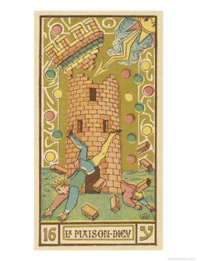 Tarot: 16 La Maison Dieu, The Tower by Oswald Wirth
