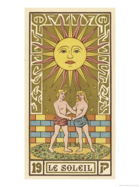 Tarot: 19 Le Soleil, The Sun by Oswald Wirth