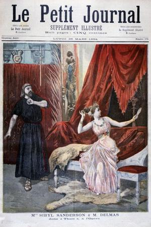 Sibyl Sanderson and Delmas in Jules Massenet 's Opera Thais, Paris, 1894
