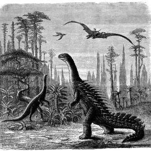 Ideal Jurassic Landscape in America, 1884 by Othniel Charles Marsh