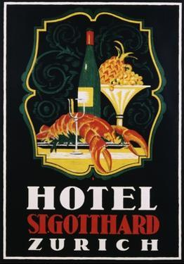 Hotel St. Gotthard Zurich Poster by Otto Baumberger