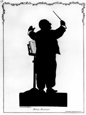 Silhouette of Anton Bruckner (1824-96) Austrian Composer, Conducting