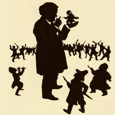 Wagner on silhouetted caricature