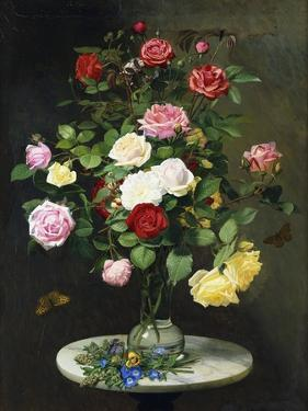 A Bouquet of Roses in a Glass Vase by Wild Flowers on a Marble Table by Otto Didrik Ottesen