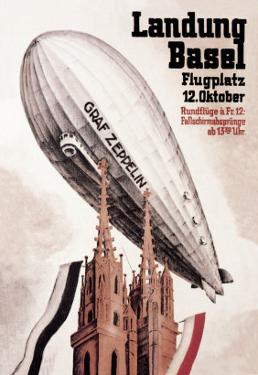 Graf Zeppelin Flies over the Cathedral in Basel Switzerland by Otto Jacob Plattner