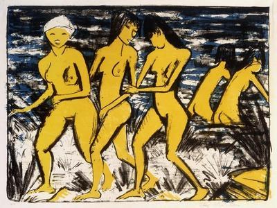 Five Yellow Nudes on the Water; Funf Gelbe Akte Am Wasser (Karsch 156A), 1921
