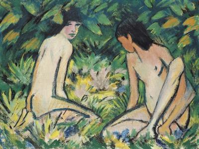 Girls in the Open Air (Pastel on Canvas)