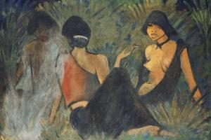 Gypsies by the Campfire (Recto); Zigeunerinnen Am Lagerfeuer (Recto), c.1927 by Otto Muller or Mueller