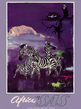 Africa - Zebras - Mount Kilimanjaro - SAS Scandinavian Airlines System by Otto Nielsen