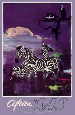 Africa - Zebras - Mount Kilimanjaro - SAS Scandinavian Airlines System by Otto Nielsen