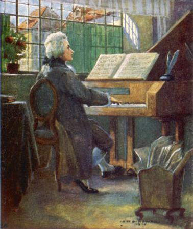 Wolfgang Amadeus Mozart the Austrian Composer Playing the Harpsichord