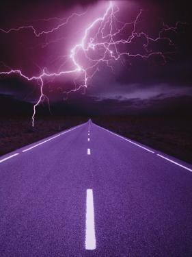 Lightning over Highway by Otto Rogge