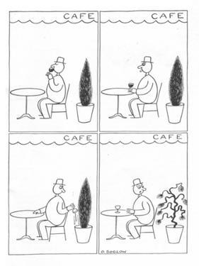 Man in sidewalk cafe tosses out his drink into a potted shrub; the plant s… - New Yorker Cartoon by Otto Soglow