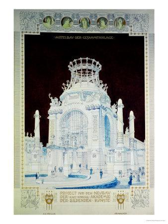 Academy of Fine Arts, Vienna, Design for the Hall of Honour (Coloured Pencil)