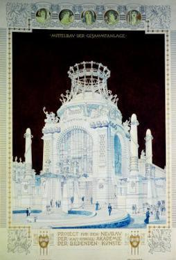Academy of Fine Arts, Vienna, Design for the Hall of Honour (Coloured Pencil) by Otto Wagner
