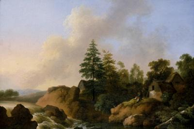 Moutainous Landscape with Waterfall