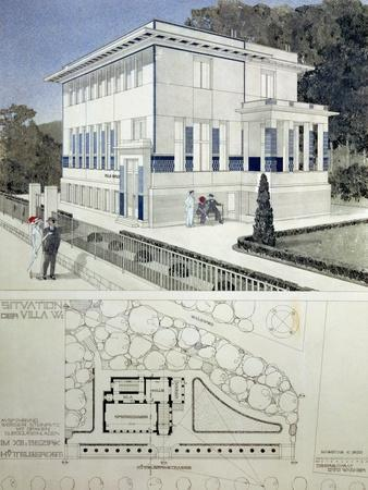 Villa Wagner, Vienna, Design Showing the Exterior of the House, Built of Steel and Concrete 1913