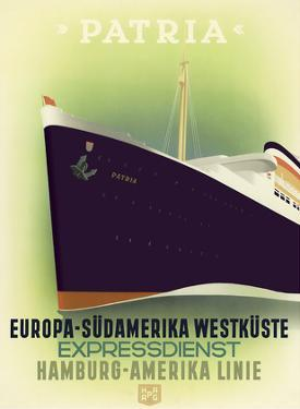 Europe to South America West Coast - Express Service - Hamburg-American Line by Ottomar Anton