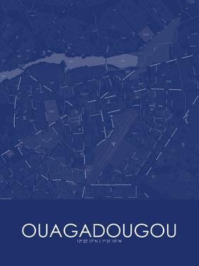 Ouagadougou, Burkina Faso Blue Map
