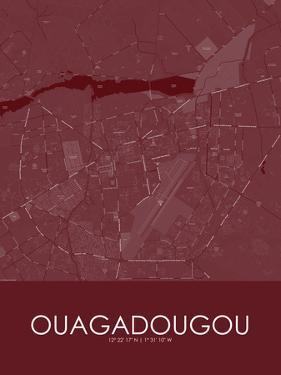 Ouagadougou, Burkina Faso Red Map