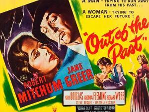 OUT OF THE PAST, top and bottom l-r: Jane Greer, Robert Mitchum on title card, 1947