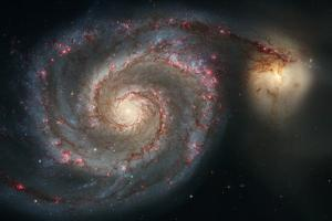 Out of This Whirl: the Whirlpool Galaxy M51 and Companion Galaxy Space Plastic Sign