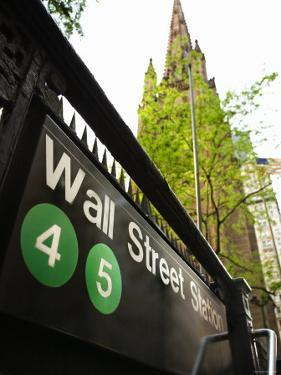 Outdoor Sign for Wall Street Subway Station in New York City