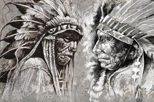 Native American Indian Head, Chief, Retro Style by outsiderzone