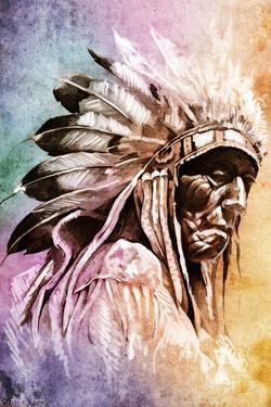 Sketch Of Tattoo Art, Indian Head Over Colorful Background by outsiderzone