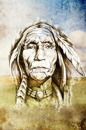 Sketch Of Tattoo Art, Indian Head Over Field Background