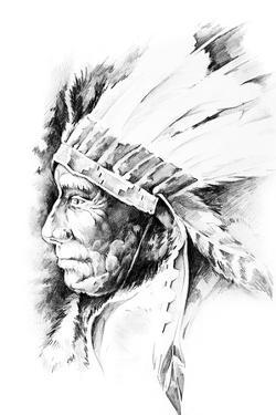 Sketch Of Tattoo Art, Native American Indian Head, Chief, Isolated by outsiderzone