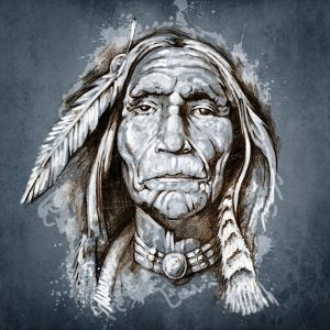 Sketch Of Tattoo Art, Portrait Of American Indian Head by outsiderzone