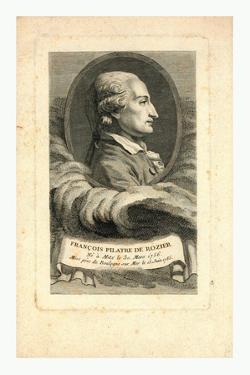 Oval Head-And-Shoulders Profile Portrait of French Balloonist Jean-François Pilâtre De Rozier